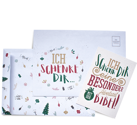Aktion zum Advent: Geschenkumschlag mit Karte